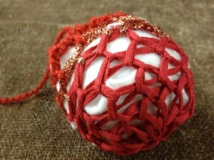 Loom Knit Decorative Ball or Ornament for the Holiday