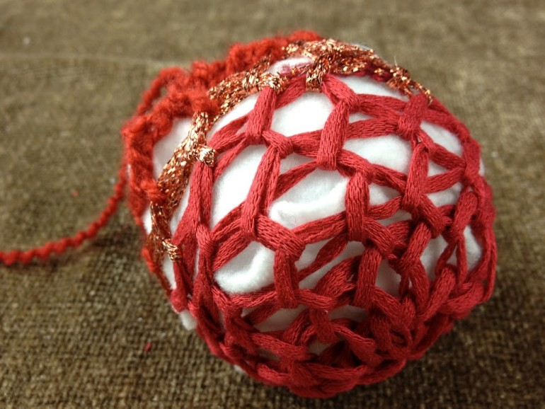 Loom Knit Christmas Ornaments Part - 26: Loom Knit Decorative Ball Or Ornament For The Holiday