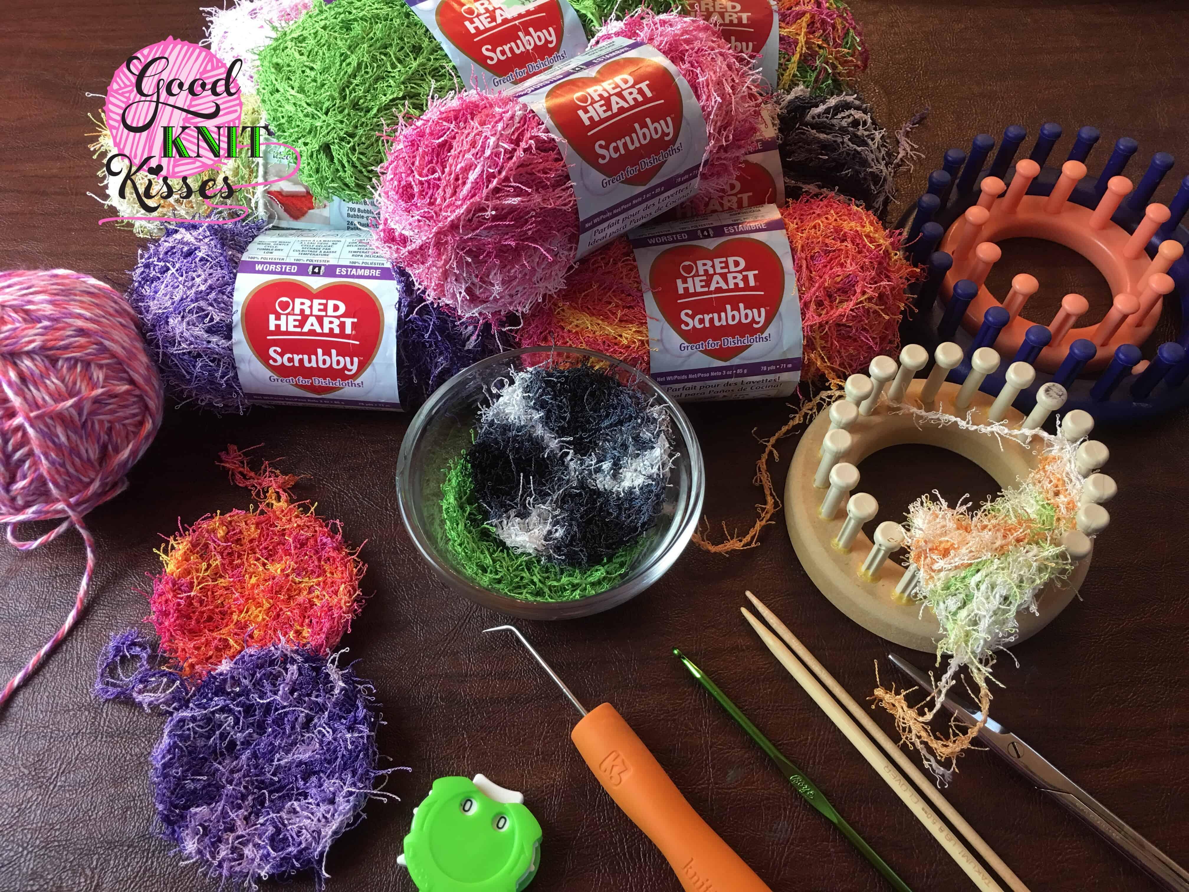 Loom Knit Scrubby Stack Scrubbies In A Mason Jar