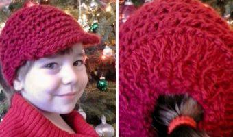Newsboy Messy Bun Hat or Ponytail Hat