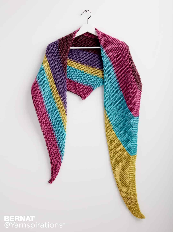 Bernat Pop! Knit Triangle Shawl | Yarnspirations