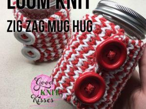 Loom Knit Zig Zag Mug Hug & Jar Hug Gift Set