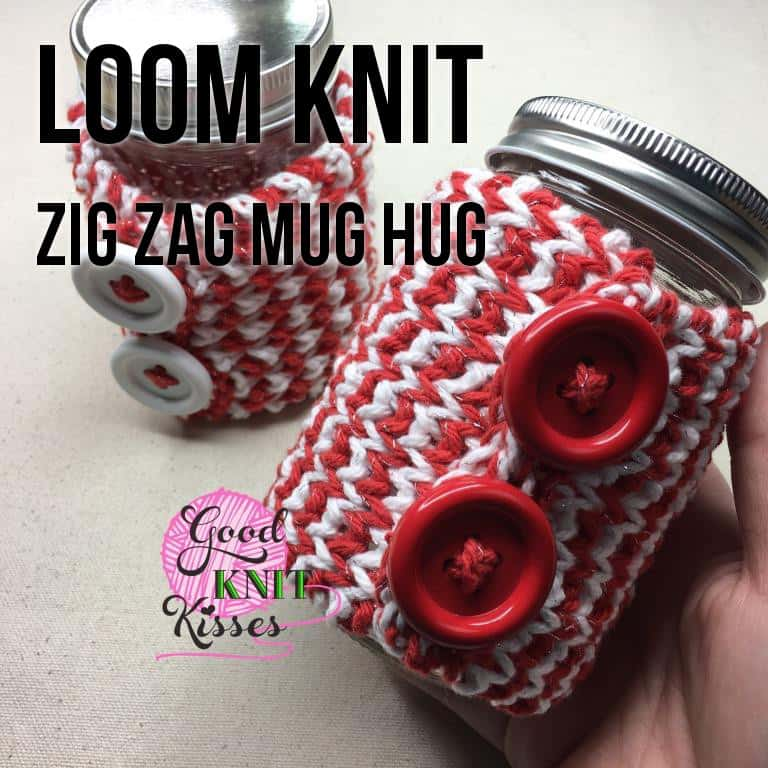 Zig Zag Stitch Loom Knitting : Loom knit zig zag mug hug jar gift set goodknit kisses