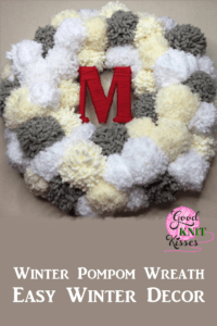 Make your own Winter PomPom Wreath and bring the snow inside. The fluffy pompom snowballs surround your yarn-wrapped initial. http://www.goodknitkisses.com/winter-pom-pom-wreath/ #goodknitkisses #pompom #pompomwreath #winterwreath #winterdecor