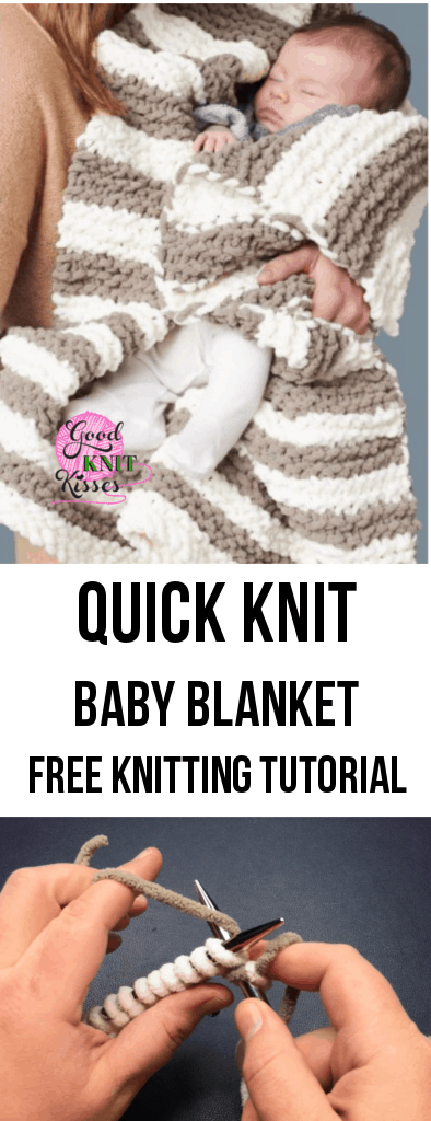 In A Wink Baby Blanket http://www.goodknitkisses.com/wink-baby-blanket/ Knit this cuddly soft baby blanket in a wink with GoodKnit Kisses' easy tutorial. #goodknitkisses #quickknit #knitblanket #knitbabyblanket #chunkyknit
