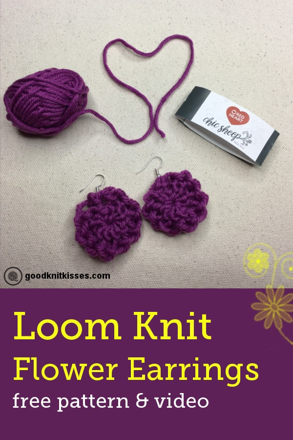 Knit these adorable earrings on a small flower loom. Free pattern and video. http://goodknitkisses.com/easy-loom-knit-flower-earrings/ #goodknitkisses #loomknit #loomknitting #knitjewelry #diyearrings