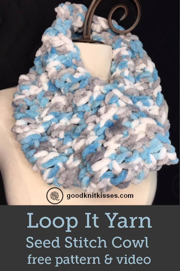 Loop Yarn Seed Stitch Cowl PIN Image