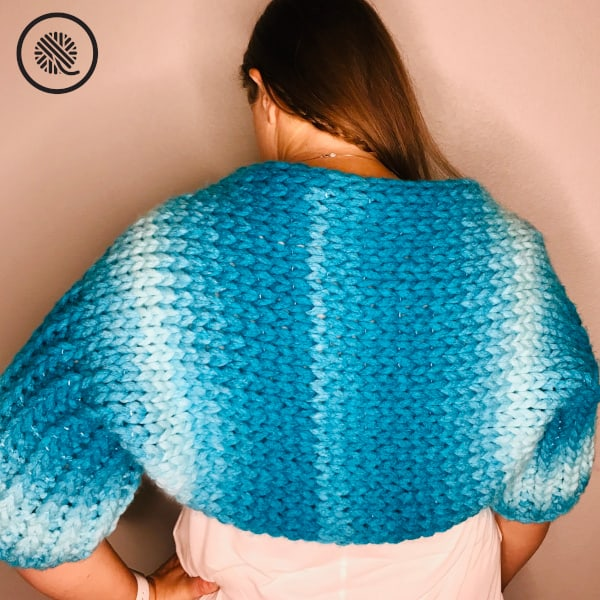 Finger Knit Bolero Shrug back view