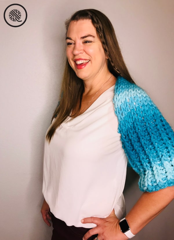 Finger Knit Bolero Shrug on model front view