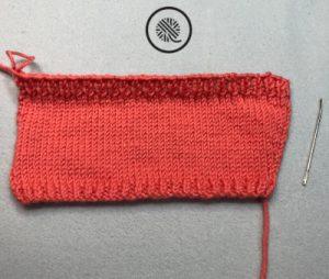 basic knit cup cozy in progress flat panel