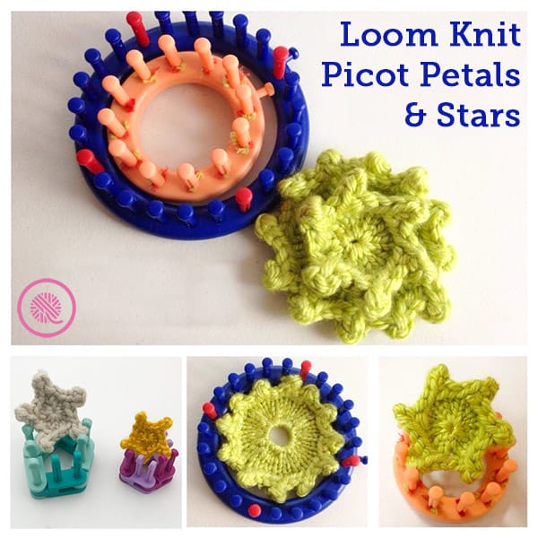 loom knitting pretty picot flowers and stars