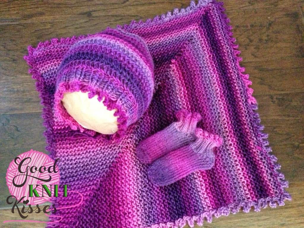 picot layette set finished with bonnet, booties and lovey
