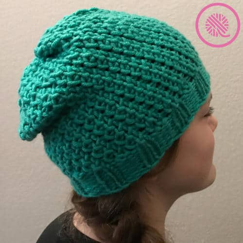 needle knit seagrass slouchy hat finished side view