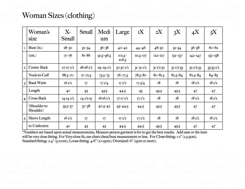 Chart for Women sizes & measurements