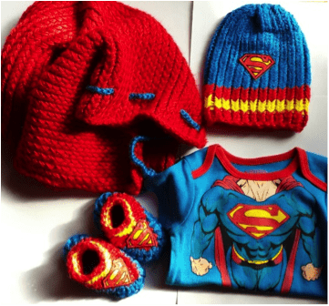 Loom Knit Superman Cape, Hat and Booties