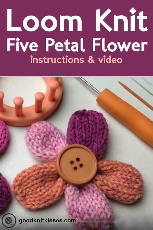 loom knit five petal flower