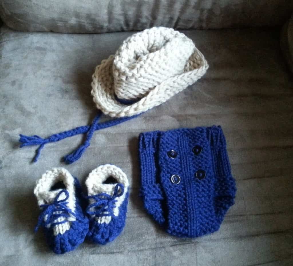 Cowboy hat diaper cover and booties by Denice johnson April 2014 B