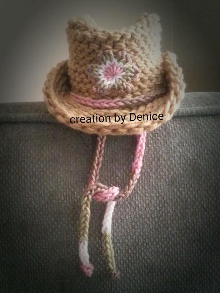 Loom Knit Cowboy Hat with quick knit flower