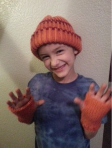 Jared with his new hat & fingerless mittens