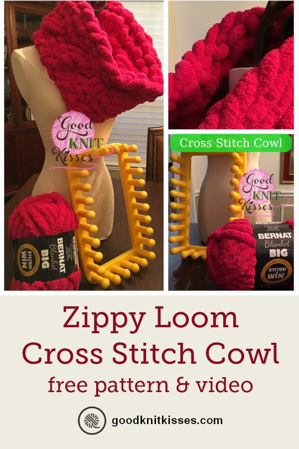 Zippy Loom Cross Stitch Cowl PIN Image
