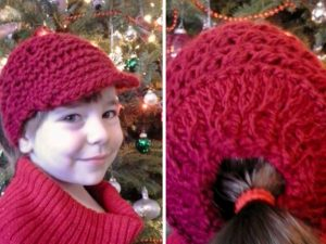 Newsboy Messy Bun Hat or Ponytail Hat