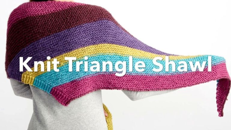 Bernat Pop! Knit Triangle Shawl | Yarnspirations - GoodKnit Kisses