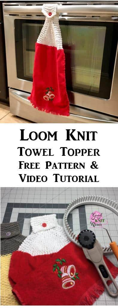 Make a Loom Knit Towel Topper with this free pattern and video from GoodKnit Kisses. https://www.goodknitkisses.com/loom-knit-towel-topper/ #goodknitkisses #knitgift #loomknit #loomknitting #loom