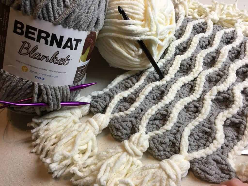 Trellis and Tassels Knit Afghan