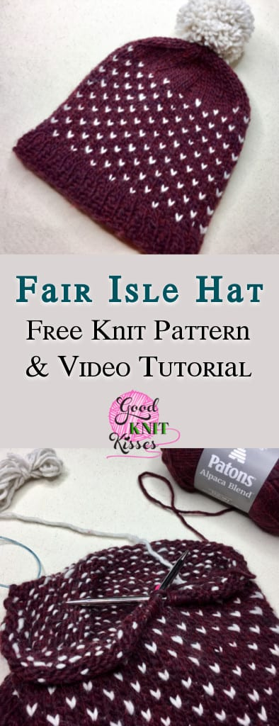Learn to knit 2-color Fair Isle with this cozy alpaca blend hat. https://www.goodknitkisses.com/fair-isle-knit-hat/ #goodknitkisses #fairisleknit #knittingpattern #freepattern #knithat