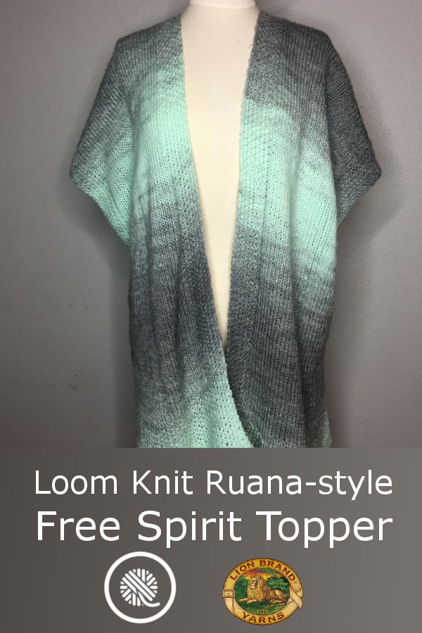Loom Knit Ruana-style Free Spirit Topper made with Lion Brand Scarfie yarn. https://www.goodknitkisses.com/loom-knit-free-spirit-topper/ #goodknitkisses #loomknit #loomknitting #scarfie #ruana