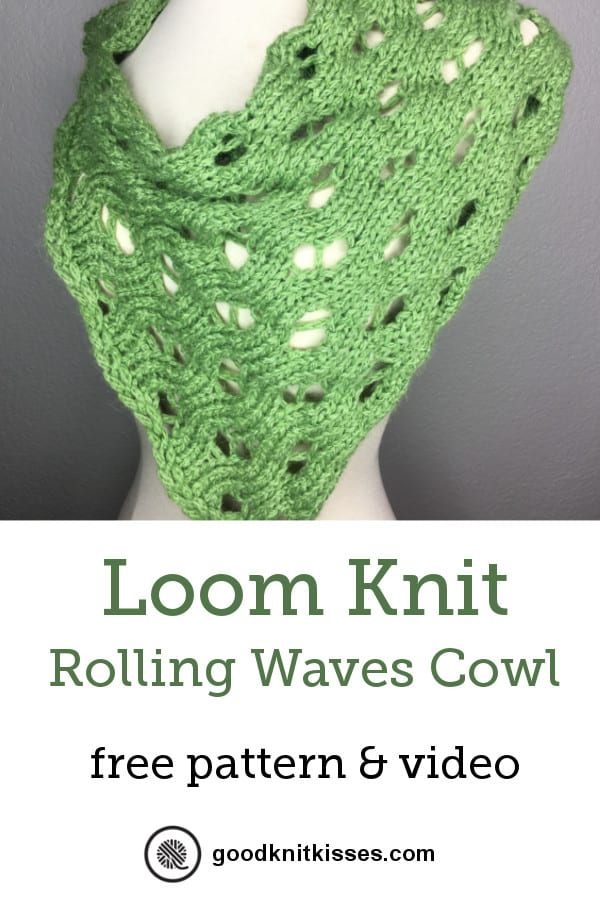 loom knit rolling waves cowl pin image