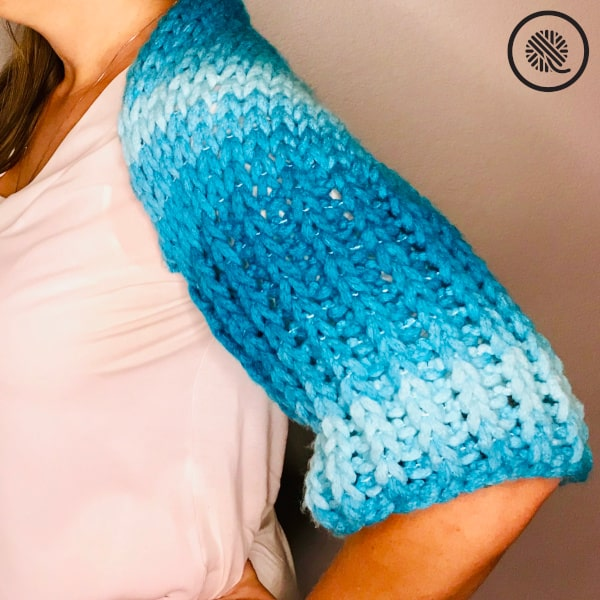 Finger Knit Bolero Shrug sleeve