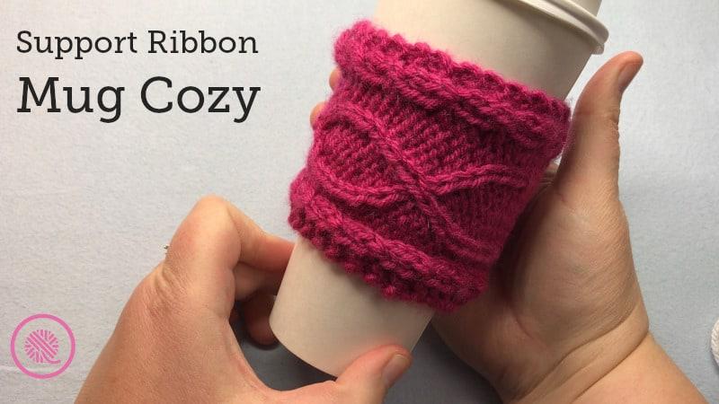 Ribbon Mug Cozy | Knitting for a Cure
