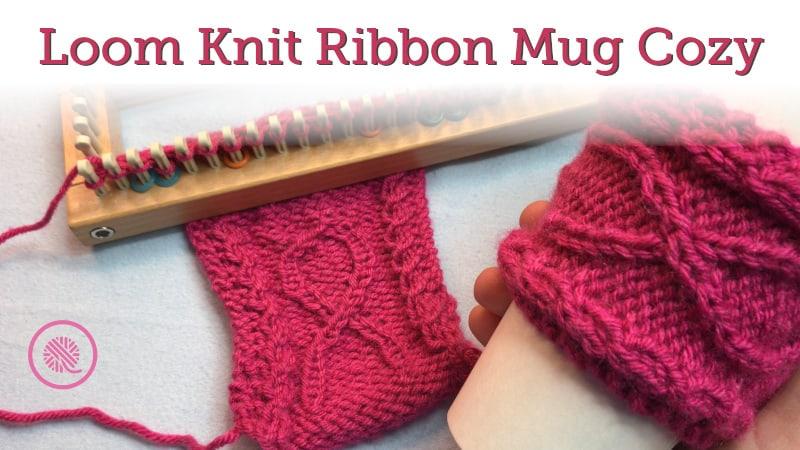 Loom Knit Ribbon Mug Cozy