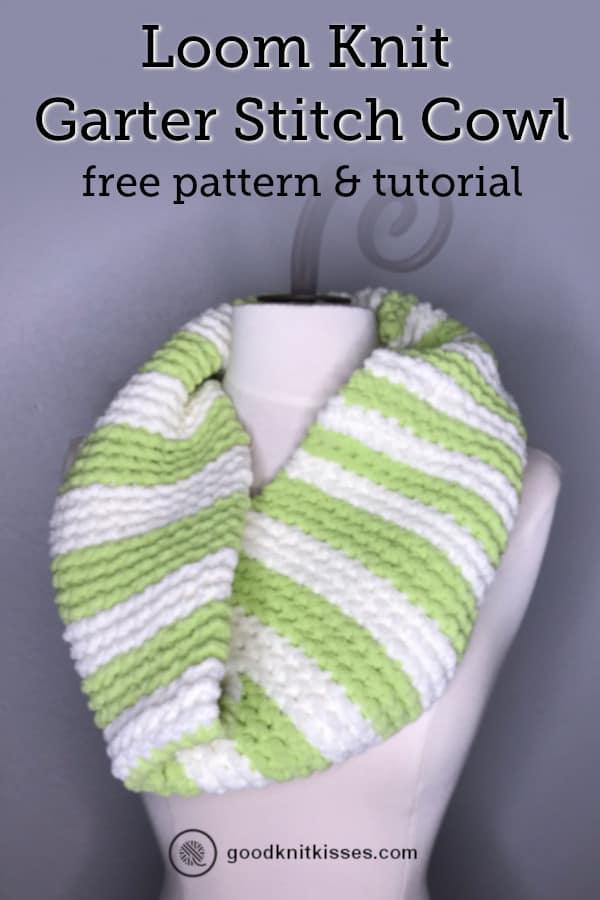 loom knit garter stitch cowl pin image