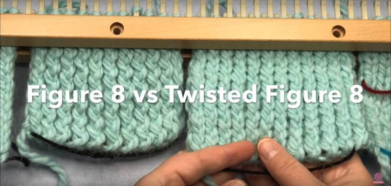 Loom Double Knit Stockinette Figure 8 vs. Twisted Figure 8 comparison