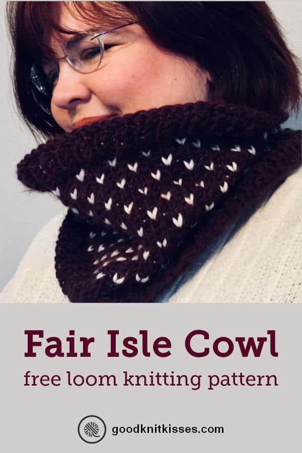 Fair Isle Loom Knit Cowl PIN image