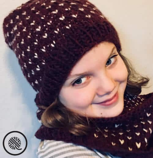 Fair Isle Loom Knit Cowl and Hat picture