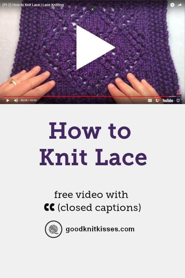 How to Knit Lace Video Tutorial Pin