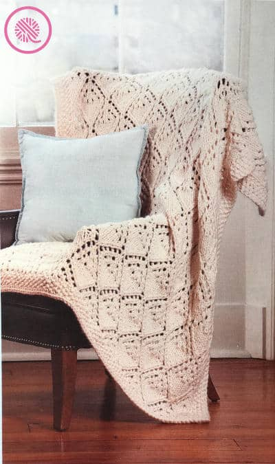 How to Knit Lace - Winter Lace Afghan draped on a chair