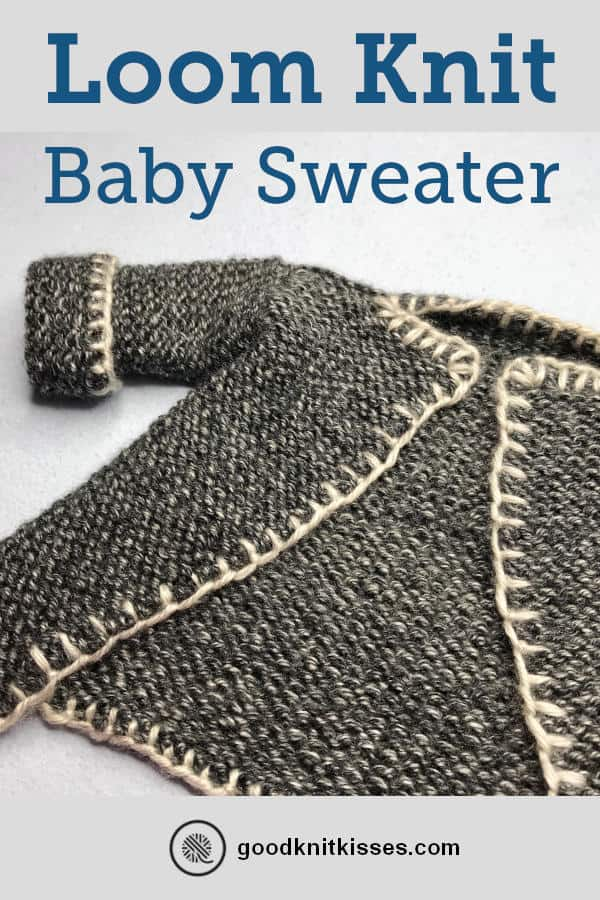 Loom Knit Baby Sweater PIN image of finished sweater laying a table