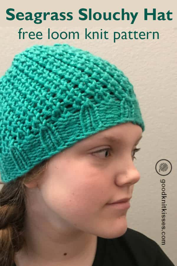 loom knit seagrass slouchy hat pin image