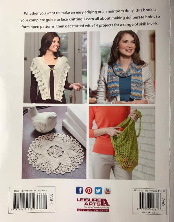Back Cover Beginner's Guide to Lace Knitting book giveaway