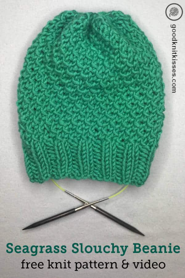 Needle Knit Seagrass Slouchy Hat | GoodKnit Kisses