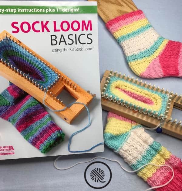 loom knit socks that fit book, sock on loom and finished sock