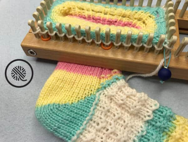 loom knit socks that fit sock in progress