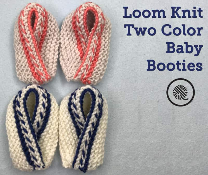 Learn to Make Colorful Loom Knit Baby Booties