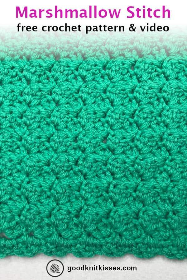 crochet marshmallow stitch pin image
