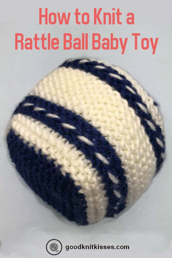 how to knit a rattle ball baby toy PIN image