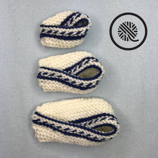 colorful loom knit baby booties size comparison